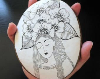 Rock Goddess Painted Stone Original Art Drawing Gift Decor