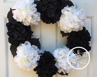 Hydrangea Wreath, Front Door Wreath, Black White Wreath, Grapevine Wreath, Wreath Street Floral, Year Round Wreath, All Season Wreath