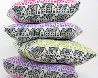 Pair of knit cushions - 2 wool pillows - Scandi style house pattern cushions - set of coloured pillows - Luxury duck pad - fairisle pattern