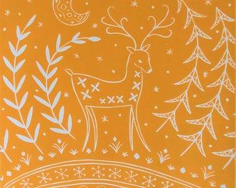 Lucy Reindeer in ochre, grey, midnight blue or red, Scandinavian Folk art, limited edition linocut print, nursery wall art