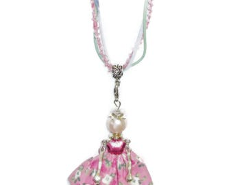 Necklace/Girls Doll Necklace/Movable Arms and Legs/Pink Dress/Pink Pearl Head/Bow/Wear and Play Necklace