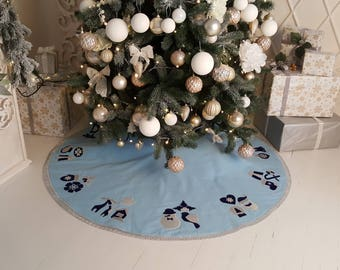 "Blue tree skirt, 55"", Christmas Tree Skirt, Xmas Gift, Silver and dark blue applique"