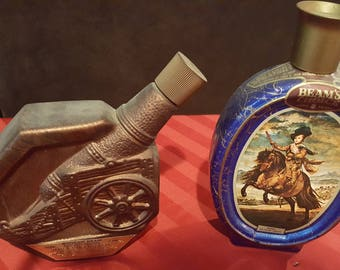 Vintage Lot of 2 - Jim Beam Decanters - Cannon and Prince Baltasar Carlos