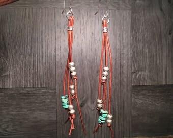 Turquoise Earrings, Southwest Earrings, Western Earrings, Leather Earrings, Handmade Earrings, Long Earrings, Boho Earrings, Native American