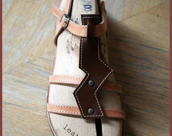 Leather sandals.