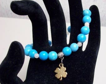 Turquoise Beads with clover charm Bracelet,Stretch,Jewelry,Bracelets,Turquoise,Charms,Gift Ideas,Gifts for Her,Blue,Birthdays,Women,Clover