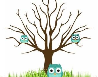 Printable Baby Shower Fingerprint Tree   Owl
