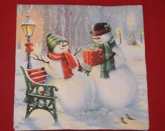 """Christmas theme napkin """"Snowman Surprise"""""""