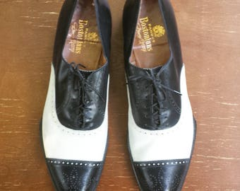 1930's or 1940's Denny Murray 'Famous Bostonians' two-tone, spade sole spectator shoes - Men's size 13 1/2AAA - black and white