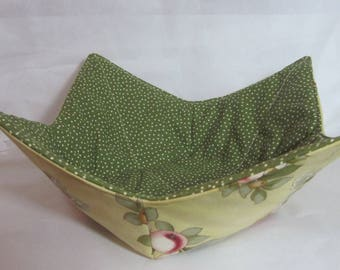 12 Inch Microwave Bowl Cozy/Holder. Floral Print and Green/White Polka Dot. Hostess or Housewarming Gift