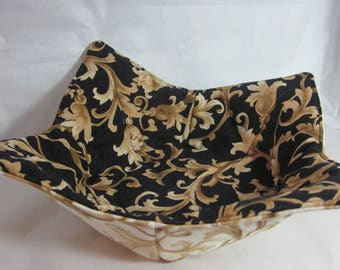12 Inch Microwave Bowl Cozy/Holder. Black Gold and Gold Ivory Jacquard Prints. Hostess or Housewarming Gift