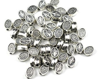 25 Mini Miraculous Medal Beads, Antique Silver, Catholic Jewelry Supply, Lot of 25, Rosary Beads, Blessed Mother Virgin Mary