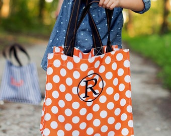 SALE!!! Halloween Tote, Personalized Halloween Bags, Black Stripe, Orange Dot, Trick or Treat