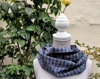 snood 100% cotton Navy Blue and beige embroidery fantasy