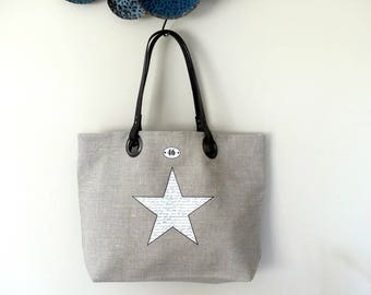Star linen tote bag