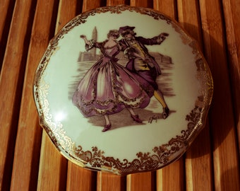 Jewelry box - Bonbonnière - Limoges porcelain - masked dance stage - jewelery box-