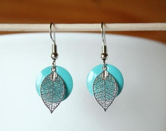 sequin blue green enamel and silver leaf earring