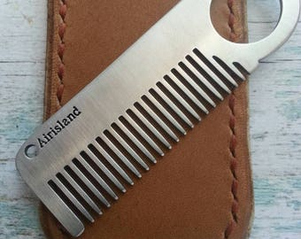 Leather Sleeve for Mustache or Beard comb, Leather comb sleeve, Leather comb case, Mustache comb case, Beard comb case, Rustic Tan Leather