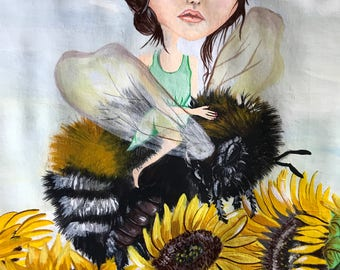 Lady and the bee is a acrylic painting very small 7x10