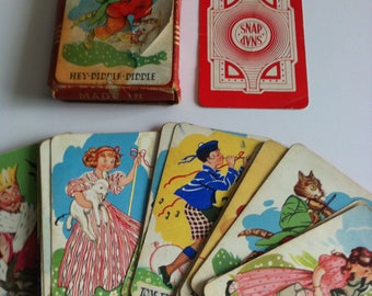 Vintage Snap Cards, Chad Valley 1950's, nursery rhymes, complete.