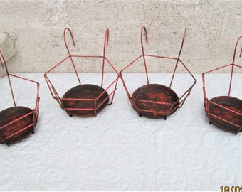 Vintage French Plant Holders, metal plant baskets, railing plant holders, terrace plant items