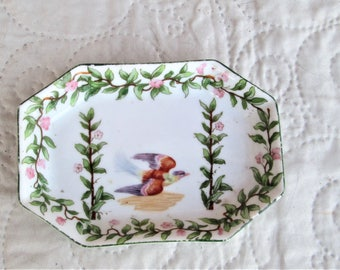 Antique French Dish, porcelain dish, 1800's porcelain, bird collectibles