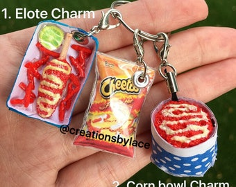 Handmade Elote Charm & Corn bowl Charm! (Each sold separately)