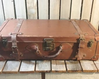 Vintage Brown Leather Suitcase/Vintage Leather Suitcase/Old Suitcase/Vintage Travel Trunk/Old Suitcase/Vintage Luggage/Leather Trunk/Luggage