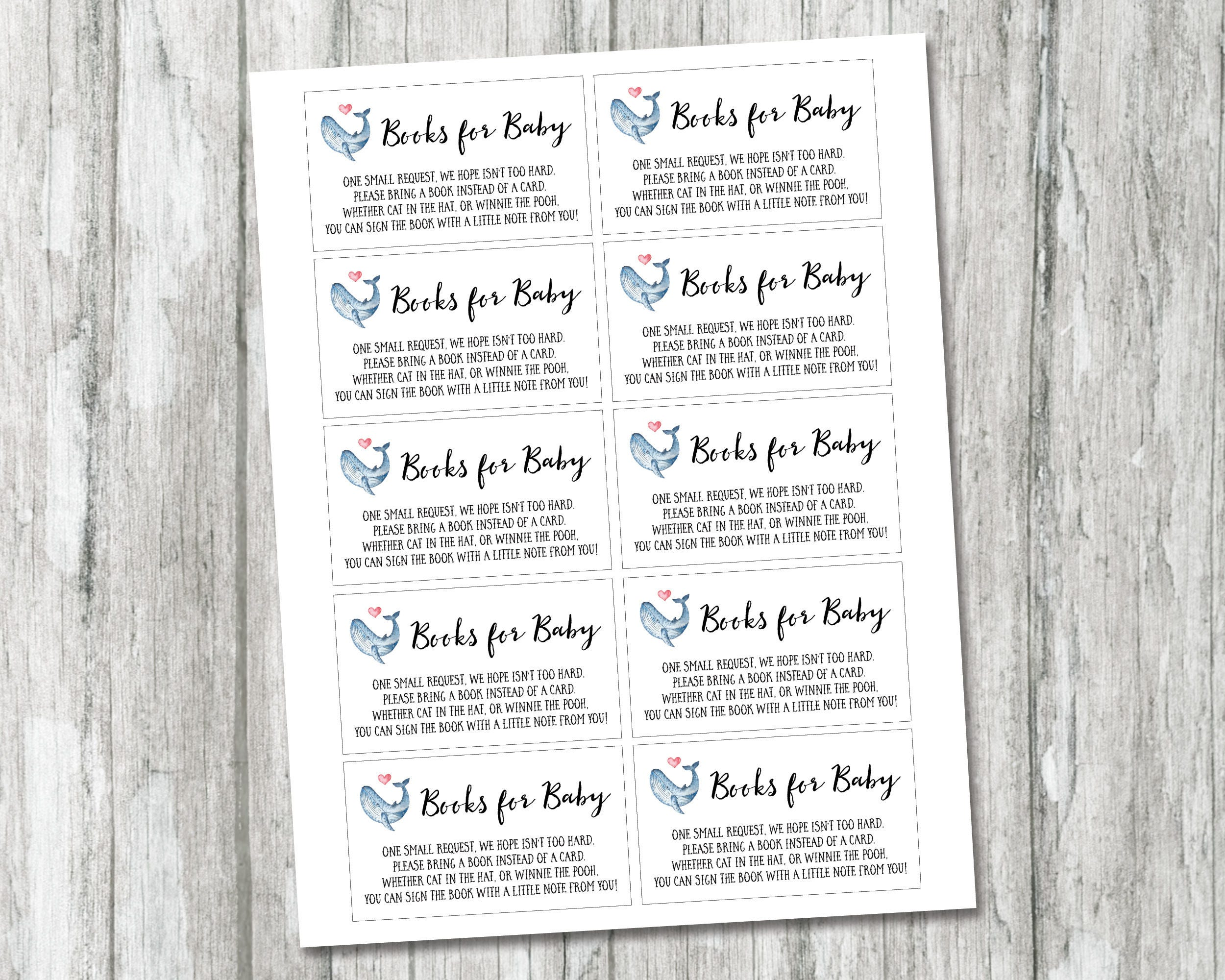 Whale Book Request Card, Printable Books For Baby Card, Book Request Insert, Baby
