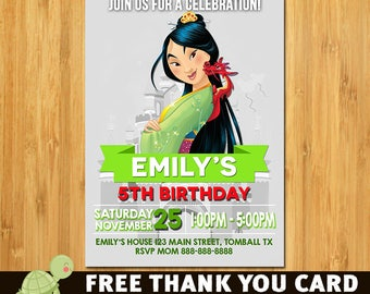 Disney Princess Mulan Invitation - Printable Disney Princess Mulan Birthday Invite