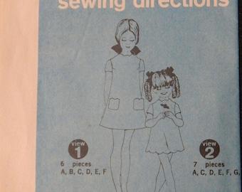 Vintage Girls' Dress Pattern (Simplicity 7886) Size 7