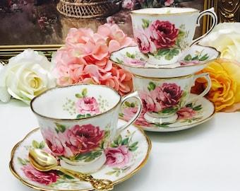 "Royal Albert ""American Beauty"" teacup and saucer."