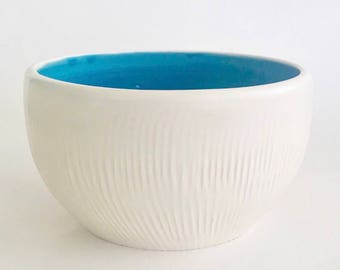 Handmade Ceramic Medium White Bowl with Caribbean Blue Inside