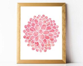 Pink Dahlia Flower Print | Printable Dahlia Wall Art | Watercolor Flower Print INSTANT DOWNLOAD | Light Pink Nursery Print | Dahlia Flowers