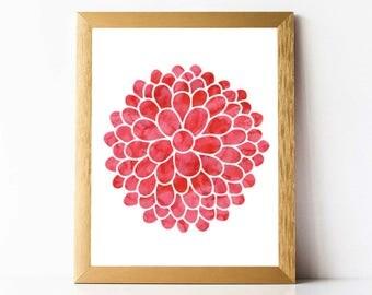 Dahlia Wall Art Digital | Watercolor Dahlia Print | Watercolor Flower Print PRINTABLE | Dahlia Bouquet Print Printable | 11x14 8x10 5x7