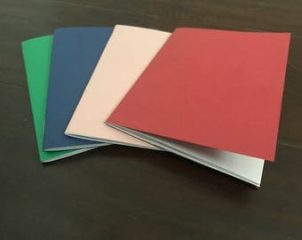 """Random 4X5.25"""" set of 4 small notebooks field 20 pages color journal party favor tiny notebook mini notebook small notebook pastel bold bulk"""