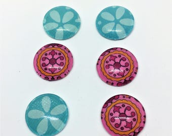 Cabochon beads, glass, blue and pink patterned.