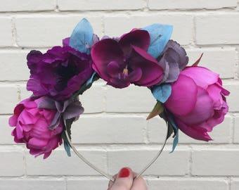 Pink Flower Headband, Pink Peony, Anemone, Flower Crown, Purple Crown, Wedding Headband, Bridal Hair Accessory, Teal Flower, Plum, Boho Hair