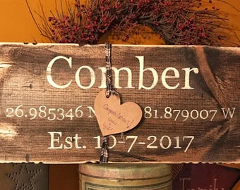 Latitude Longitude Sign / Coordinates Sign / Address Sign / GPS Coordinates / Housewarming Gift / Valentines day gift for her / Custom Signs