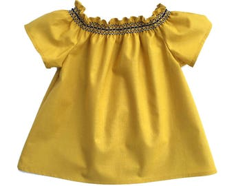 Baby Smocked Top, Ruffle Sleeve Top, Bohemian Baby Top, Boho Baby Clothes, Baby Shirt