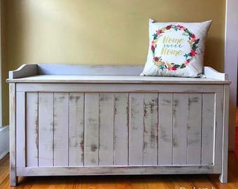 SOLD Entryway Distressed Bench