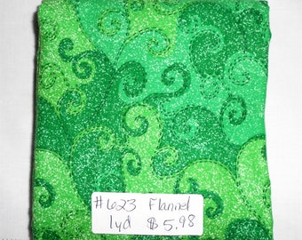 Fabric -1yd piece-Christmas/Xmas FLANNEL  Green Swirl/Scroll/bright/light/medium/dark greens/Karen Jarrar for Marcus Brothers (#623)
