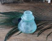 Antique Aqua Blown Glass Ink Well Bottle Carter Bottle Seamed Sides, Office Supplies