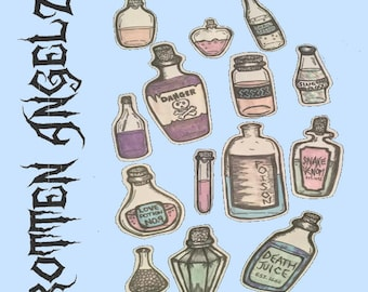 poison and potions 14pc sticker pack