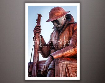 Landscape print, Tommy photography print, world war 1 sculpture, Fine art shot, sunrise sunset image, landmark photo, dramatic landscape