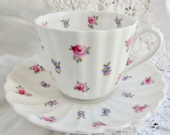 """Spode Copeland China """"Dimity"""" Small Blue & Pink Flower Sprigs Flat Teacup and Saucer Birthday Teacup Housewarming Teacup"""