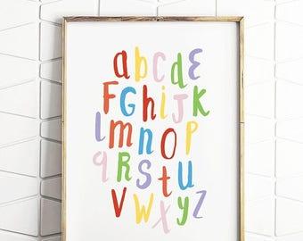 80% OFF abc rainbow, alphabet download, alphabet poster, educational print, rainbow abc, alphabet learning, kids abc art, kids abc print