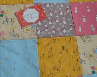 Peter Rabbit patchwork quilt top blanket