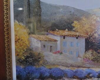 Provencal House Lavender Field Print Jean Pie* Bertaux Marais Framed France Home