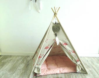 Teepee for your pet in ecru with flamingo pictures. Tipi for your dog or cat. Linen, cotton mix.